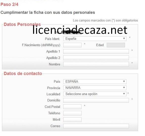 paso 2 solicitud licencia de caza de navarra