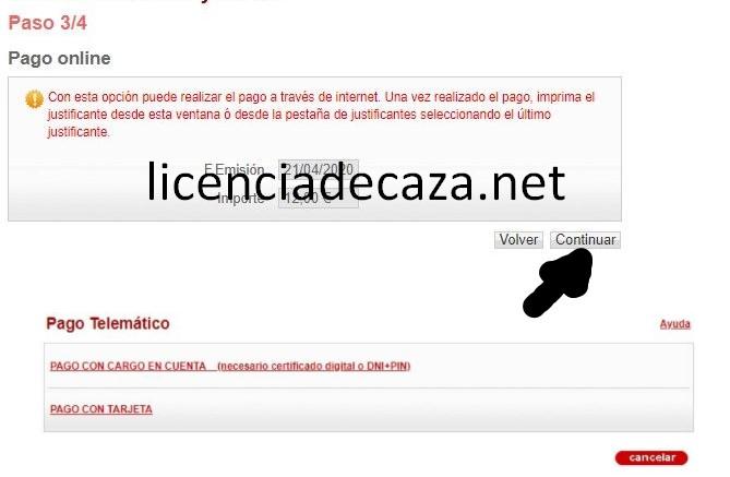 paso 3 solicitud licencia de caza de navarra