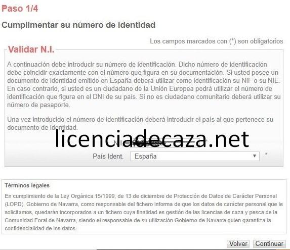 paso 1 solicitud licencia de caza de navarra